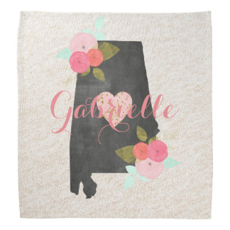Alabama Monogram State Watercolor Floral & Heart Bandana