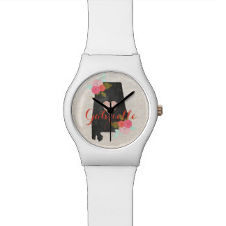 Alabama Monogram State Watercolor Floral & Heart Watch
