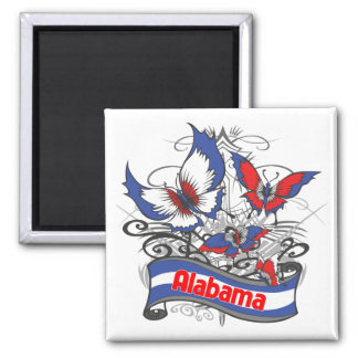 Alabama Patriotism Butterfly Square Magnet