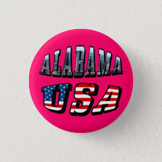Alabama Picture and USA Flag Font 3 Cm Round Badge