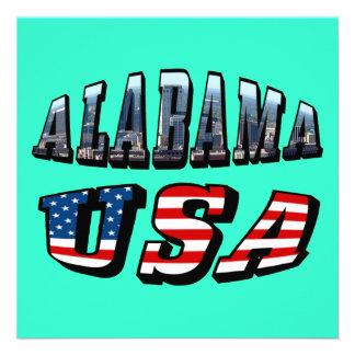 Alabama Picture and USA Flag Font Invites