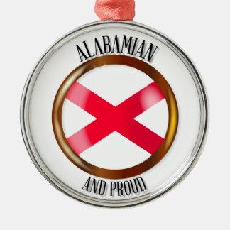 Alabama Proud Flag Button Christmas Ornament