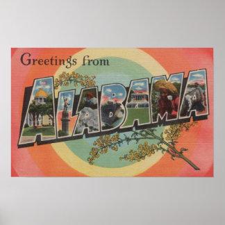 Alabama (Red/Pink) - Large Letter Scenes Poster