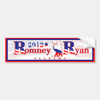 Alabama Romney and Ryan 2012 Bumper Sticker 2