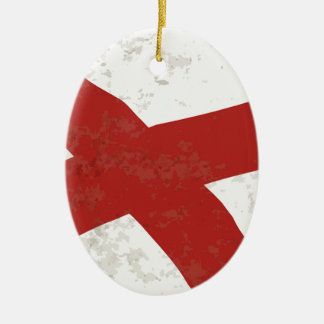 Alabama Sate Flag Grunge Ceramic Oval Decoration