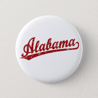 Alabama script logo in red 6 cm round badge