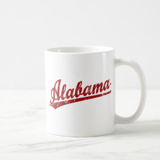 Alabama script logo in red coffee mug