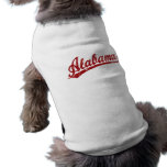 Alabama script logo in red sleeveless dog shirt