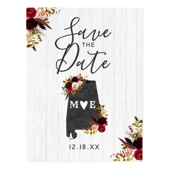 Alabama State Destination Rustic Save the Date Postcard