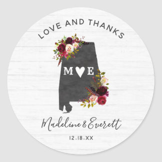 Alabama State Destination Rustic Wedding Thank You Classic Round Sticker