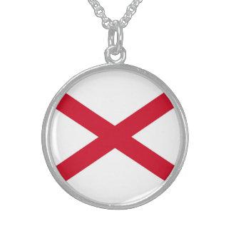 Alabama State Flag Design Round Pendant Necklace