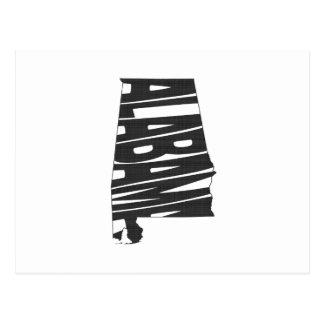 Alabama State Name Word Art Black Postcard