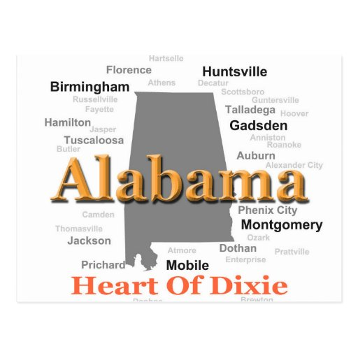 Alabama State Pride Map Silhouette Postcards