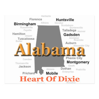 Alabama State Pride Map Silhouette Postcards