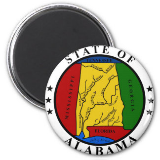 Alabama State Seal and Motto 6 Cm Round Magnet