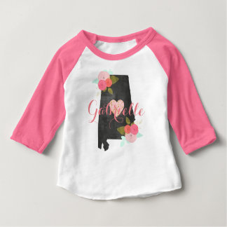 Alabama State Watercolor Floral & Heart Baby Girl Baby T-Shirt