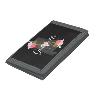 Alabama State Watercolor Floral & Heart Monogram Tri-fold Wallet
