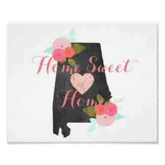 Alabama State Watercolor Floral Home Sweet Home Poster