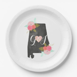 Alabama State Watercolor Floral Monogram Wedding Paper Plate