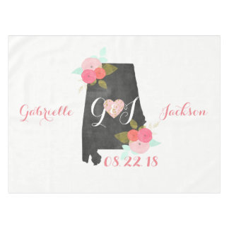 Alabama State Watercolor Floral Monogram Wedding Tablecloth