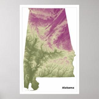 Alabama Wall Art Poster, Green to Purple