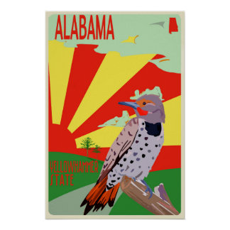 Alabama, Yellowhammer State, Travel Poster