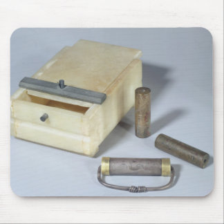 Alabaster box and bronze and silver seal cylinders mouse mat