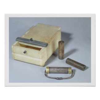 Alabaster box and bronze and silver seal cylinders poster