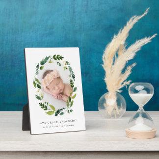 Alabaster Floral Baby Photo Plaque