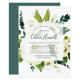 Alabaster Floral Baby Shower Invitation