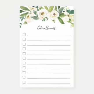 Alabaster Floral Personalized To-Do List Post-it Notes