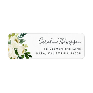 Alabaster Floral Return Address