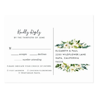 Alabaster Floral RSVP Postcard with Meal Choice