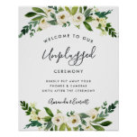 Alabaster Floral Unplugged Wedding Ceremony Sign