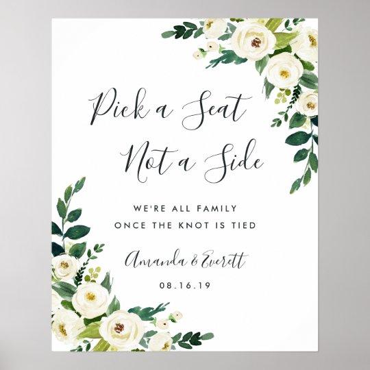 Alabaster Floral Wedding Ceremony Seating Poster