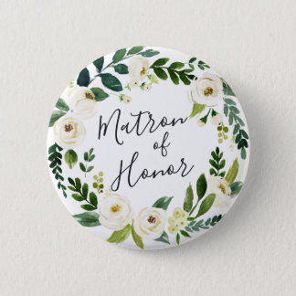 Alabaster Floral Wreath Matron of Honor 6 Cm Round Badge