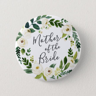 Alabaster Floral Wreath Mother of the Bride 6 Cm Round Badge