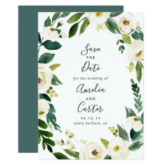 Alabaster Floral Wreath Save the Date Card