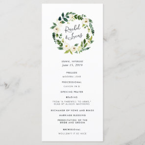 Alabaster Floral Wreath Wedding Ceremony Program Programme