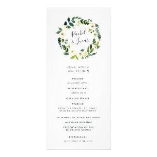 Alabaster Floral Wreath Wedding Ceremony Program Rack Card