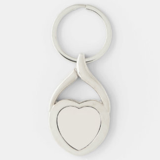 Alabaster Solid Color Customize It Silver-Colored Twisted Heart Key Ring