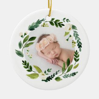 Alabaster Wreath Baby Photo Christmas Christmas Ornament