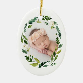 Alabaster Wreath First Christmas Photo Christmas Ornament
