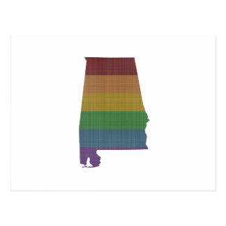alamaba-state-rainbow-gay-pride-shape-grunge postcard