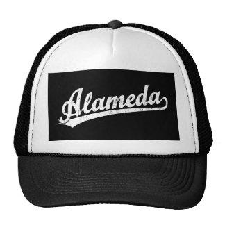 Alameda script logo in white distressed cap