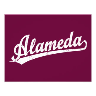 Alameda script logo in white distressed flyer design