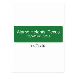 Alamo Heights Nuff Said Postcard