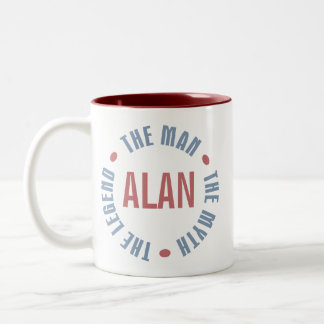 Alan Man Myth Legend Customizable Two-Tone Coffee Mug