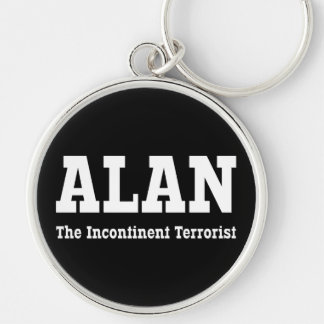 Alan - The Incontinent Terrorist Silver-Colored Round Key Ring