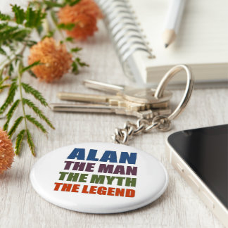 Alan the man, the myth, the legend basic round button key ring